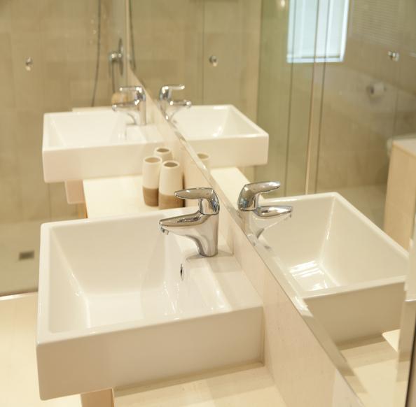 Twin sinks in modern bathroom